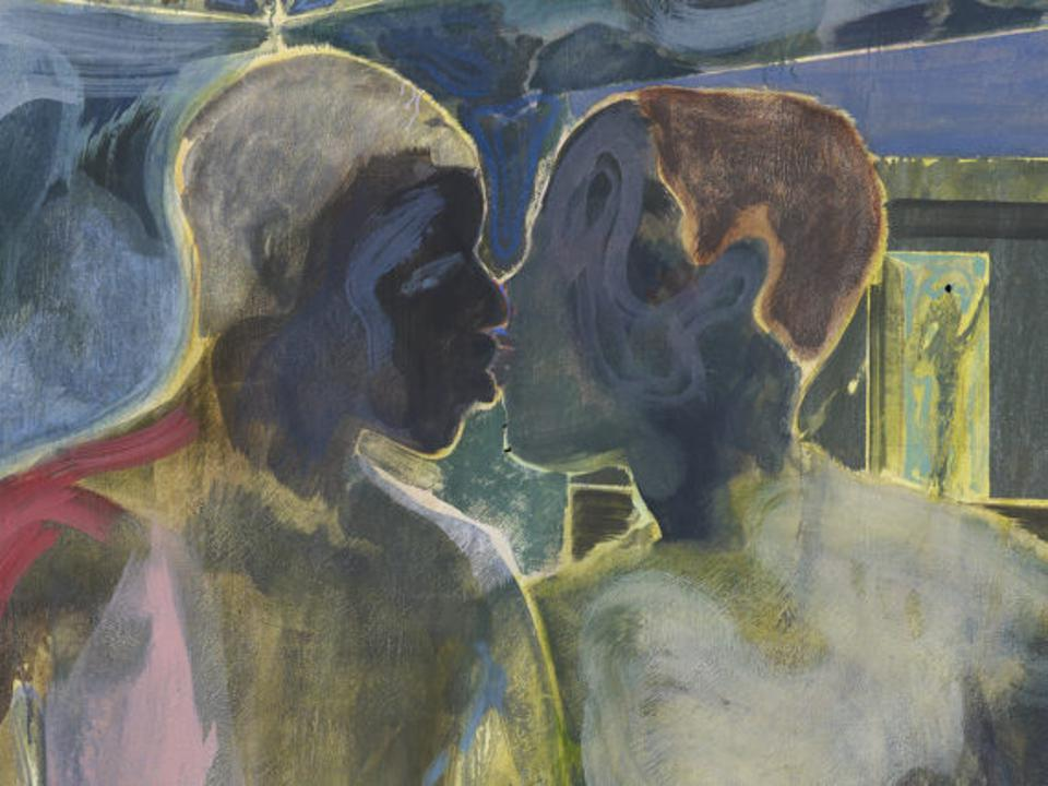 a painting of two men kissing
