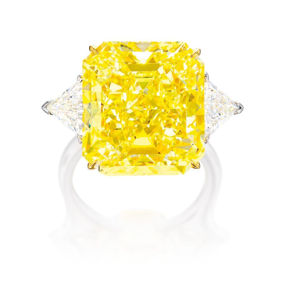 20.25-carat internally flawless fancy vivid yellow diamond. Estimate: $1.1 million - $1.5 million