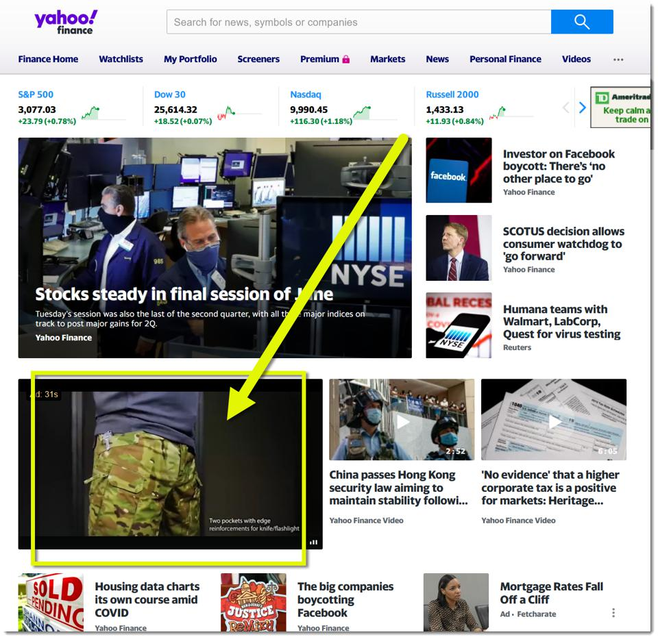 ad from deceptive site on yahoo finance