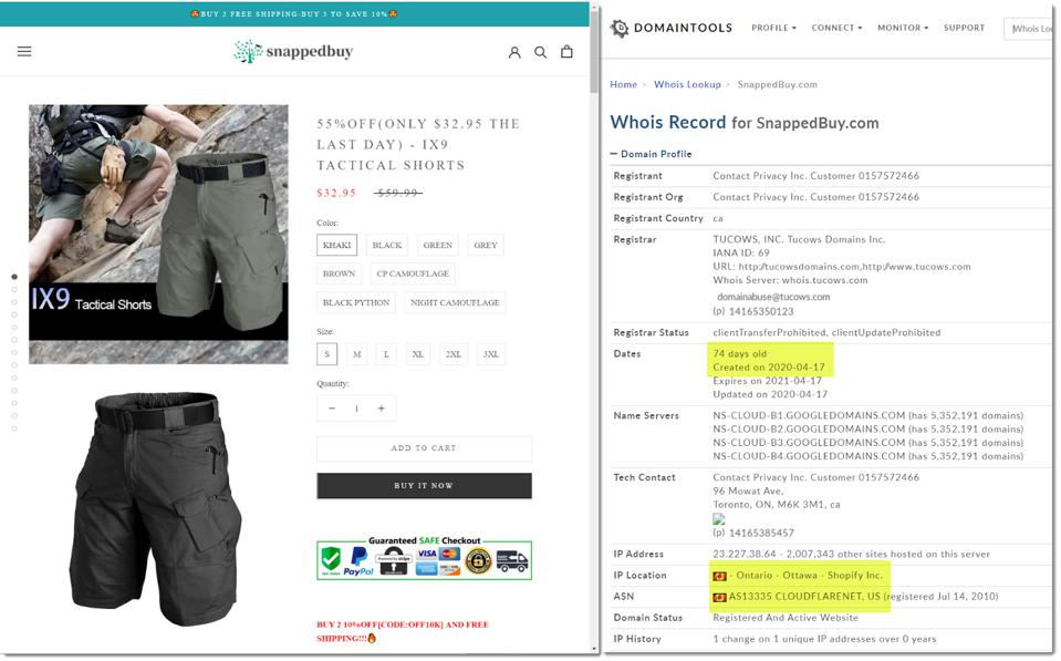 deceptive site, days old, hosted on shopify ecommerce site template