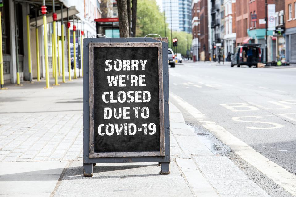 Sorry we're CLOSED due to COVID-19. Foldable advertising poster