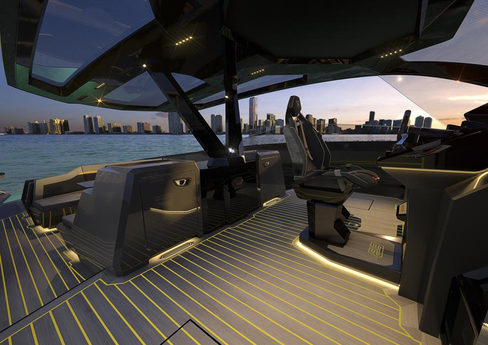 Exclusive photos of the design of the Tecnomar for Lamborghini 63 poweboat cause a stir among car owners and yacht owners alike.