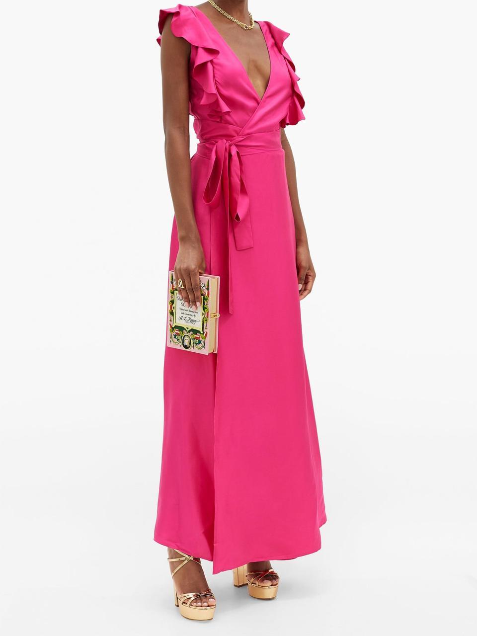 Ruffled Silk-Twill Dress by LA DOUBLEJ