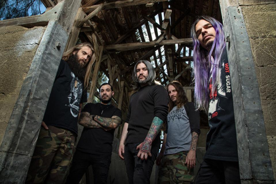 Suicide Silence members left to right, Mark Heylmun, Alex Lopez, Hernan Hermida, Danial Kenny, and Chris Garza