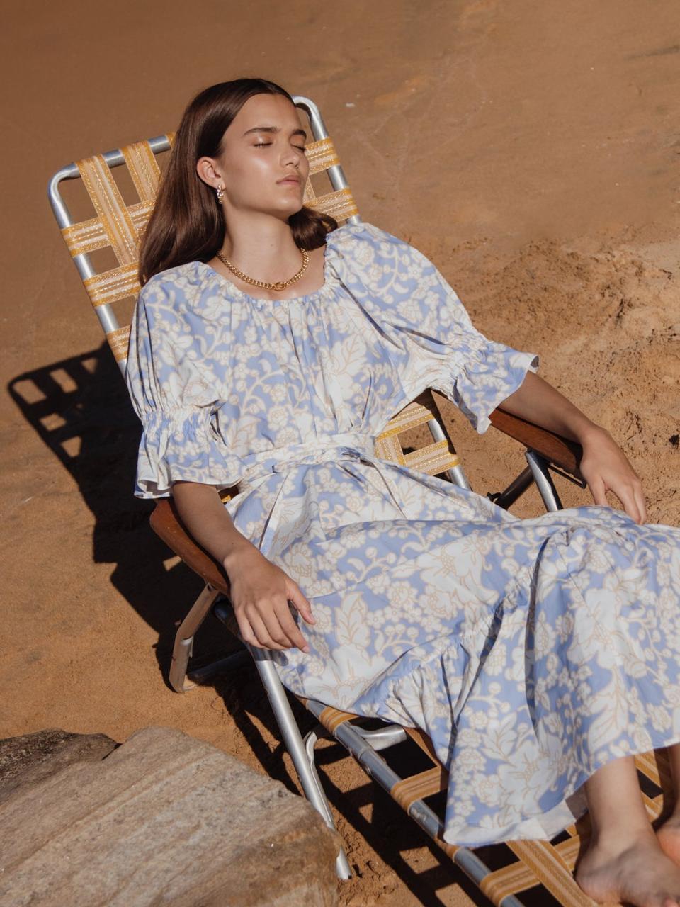 Malibu Waist-Tie Floral-Print Cotton Maxi Dress by Ephemera