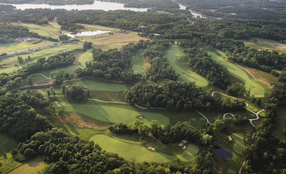 An aerial view of the gold course at Sundara Spa in Wisconsin Dells