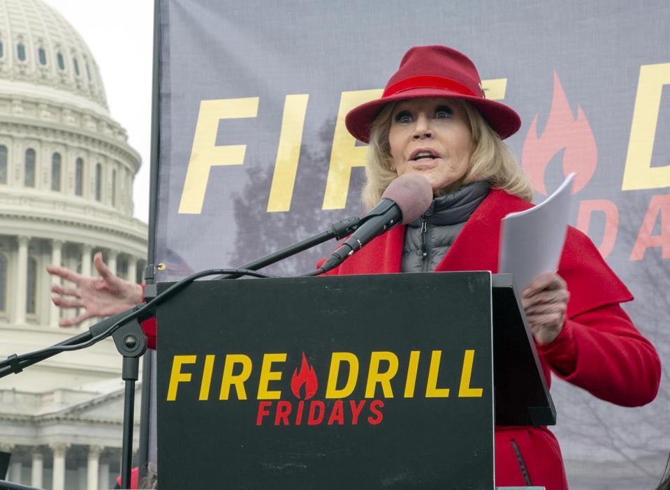 Jane Fonda speaking at the twelfth Fire Drill Friday in Washington DC