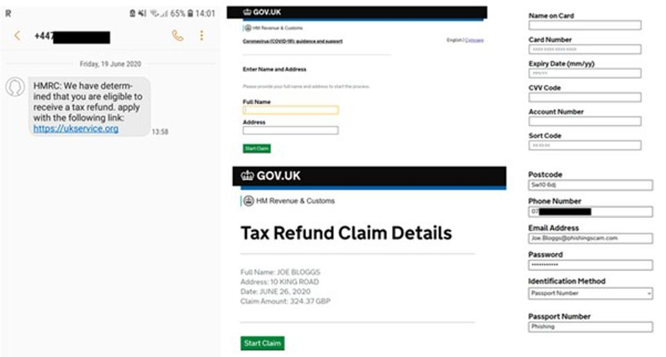 A picture of a HMRC scam of UK tax revenue collection