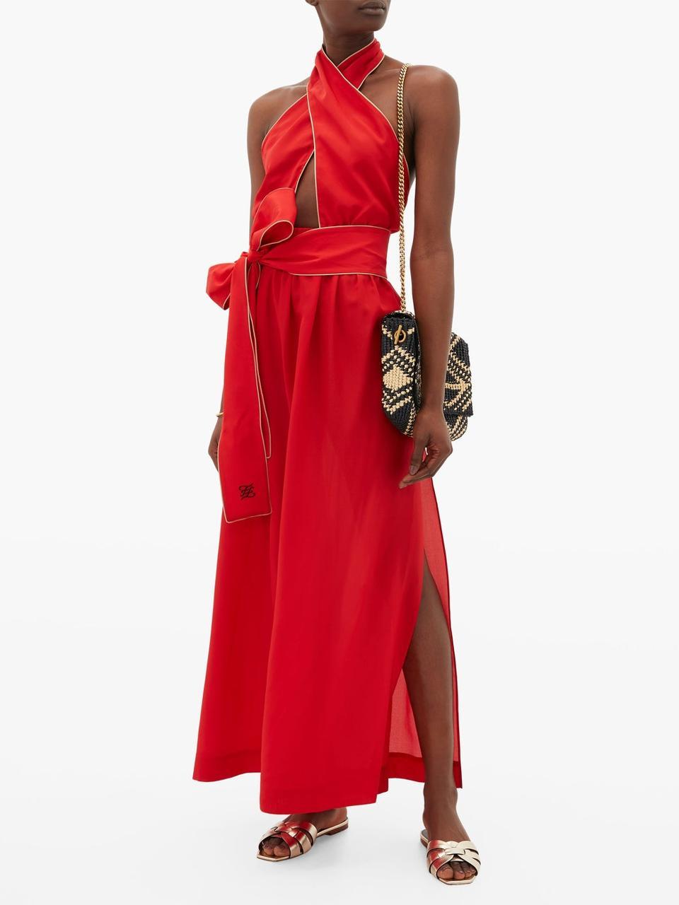 Crossover Halterneck Silk Maxi Dress by Fendi: