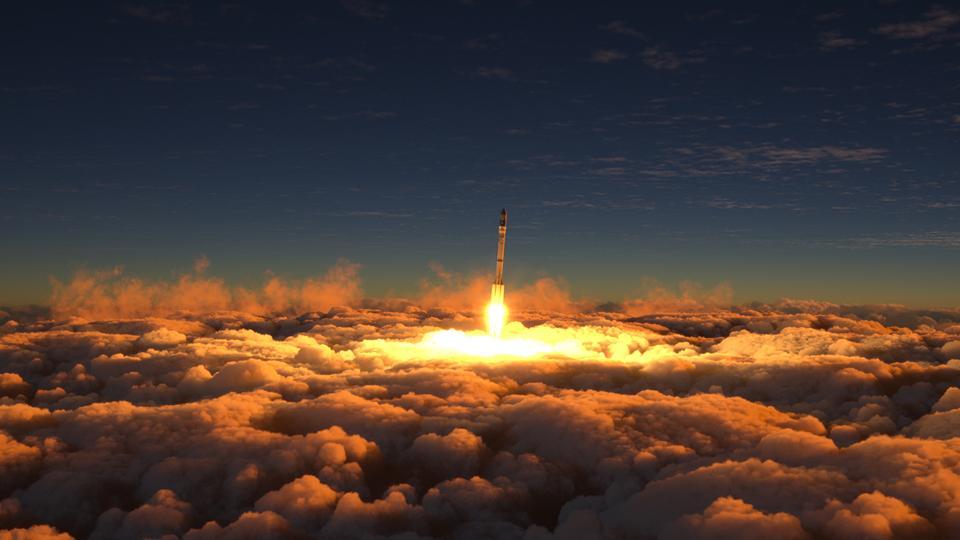 A rocket bursting through clouds with burst of light.
