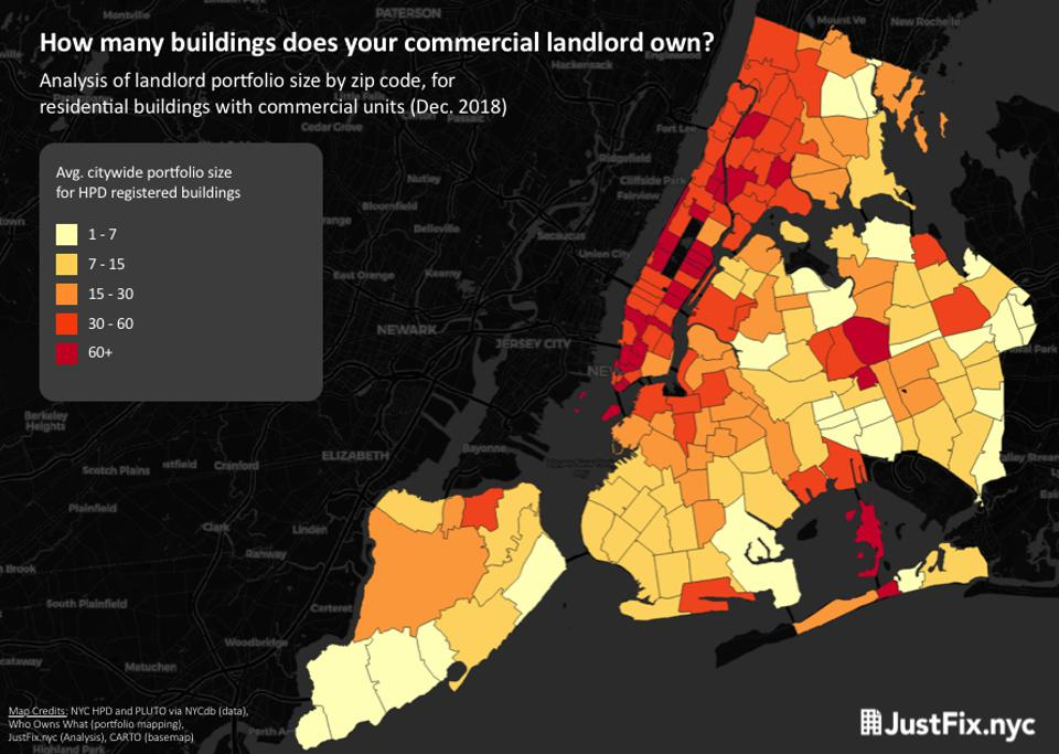 A map of New York City shows the different distribution of landlord sizes throughout the city.