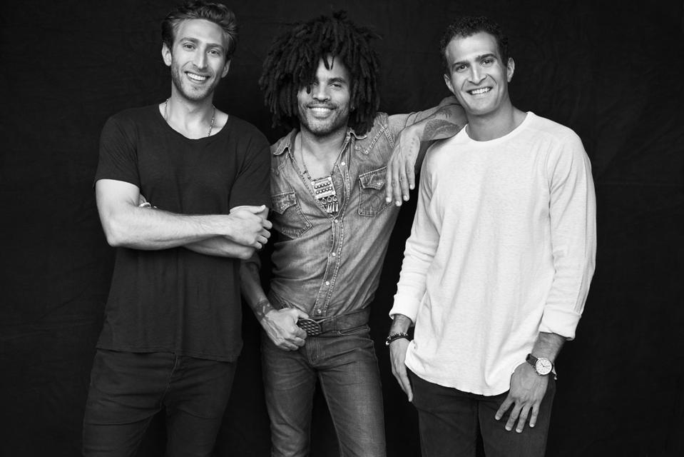 Cody Levine, Lenny Kravitz, Julian Levine, founders of Twice, Photo Credit: Mark Seliger