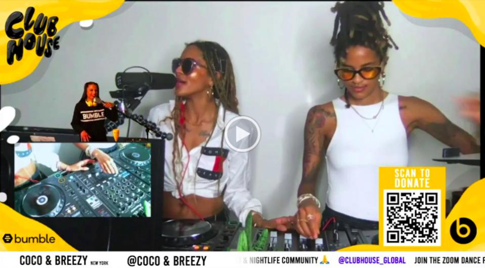 Coco & Breezy streaming on Club House Global with Bumble partner.