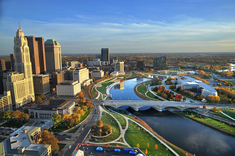 Aerial shot of the Scioto Mile in Columbus, Ohio