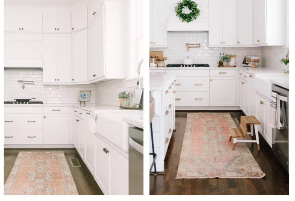 a kitchen with silver and then gold hardware before and after