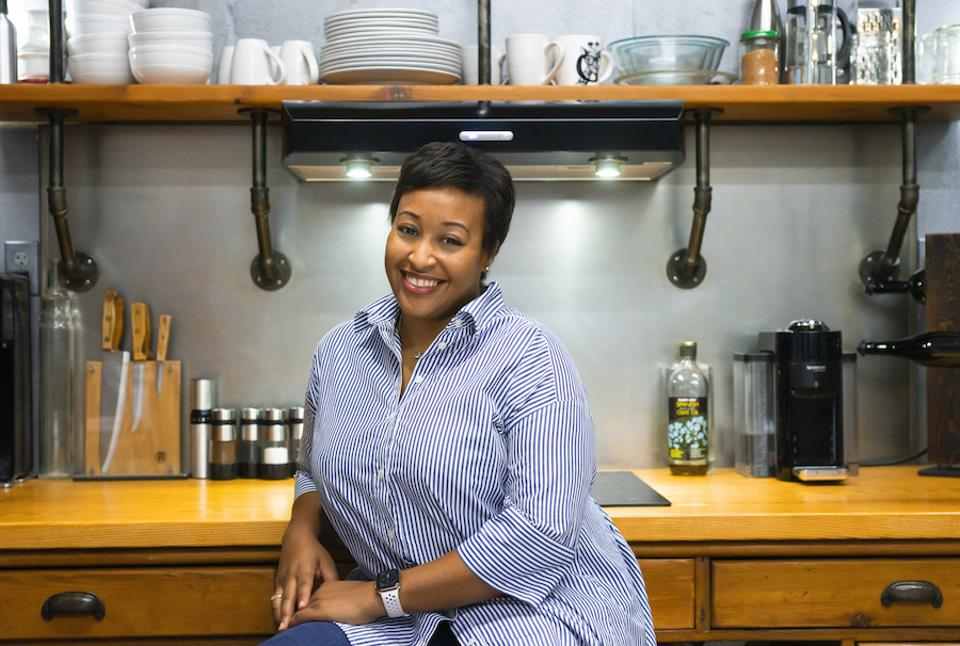 Rozalynn S. Frazier in her West Village kitchen. Cooking and Coping. Hungry Editor. Forbes