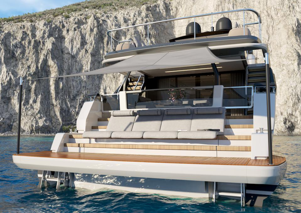 The beach club on the Ferretti Yachts 1000 is ultra-luxe.