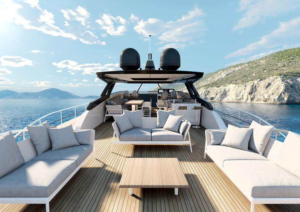 The large sundeck on the Ferretti Yachts 1000 flagship.
