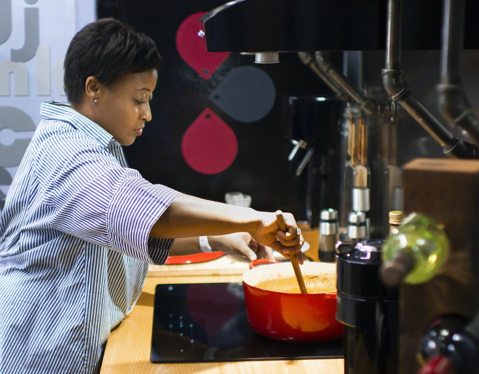 Rozalynn Frazier cooking in her NYC kitchen. Cooking and Coping. Forbes. Hungry Editor