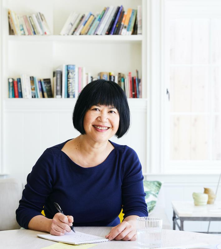 Andrea Nguyen sitting in Santa Cruz, CA. Cooking and Coping. Forbes. Hungry Editor