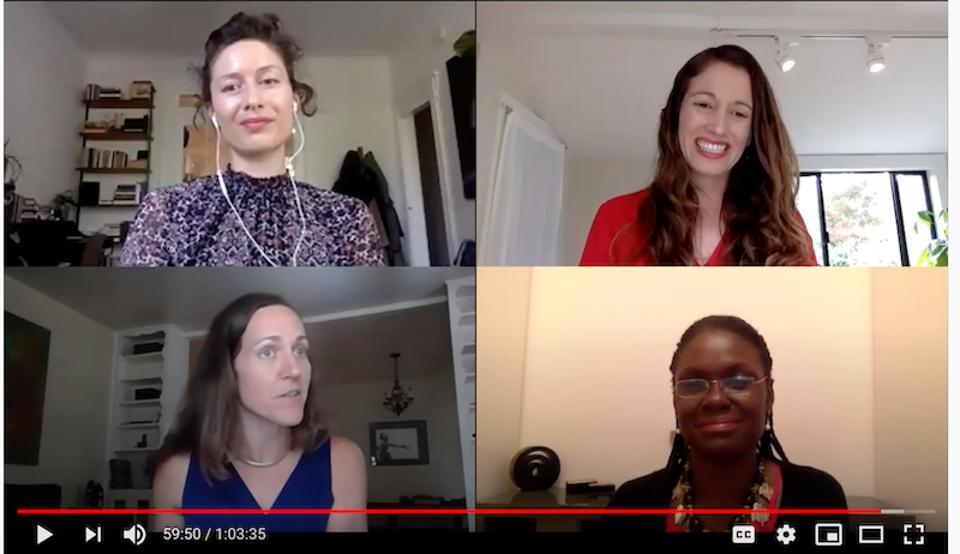 Four women speaking on a webinar
