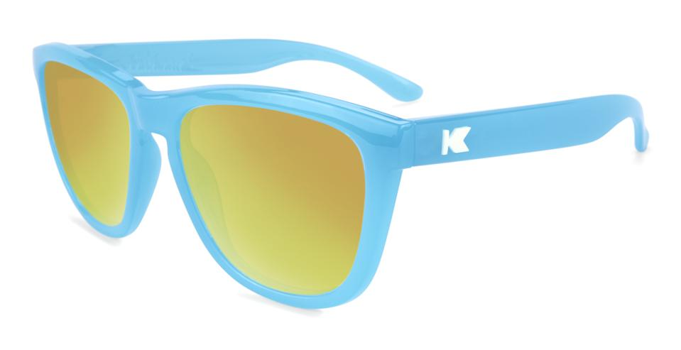 blue sunglasses with yellow lenses