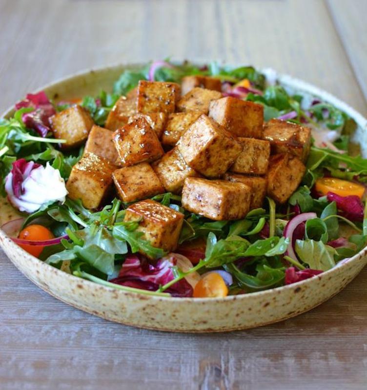 Bowl of Andrea Nguyen's Shaking Tofu, vegan version of Shaking Beef (thit bo luc lac).