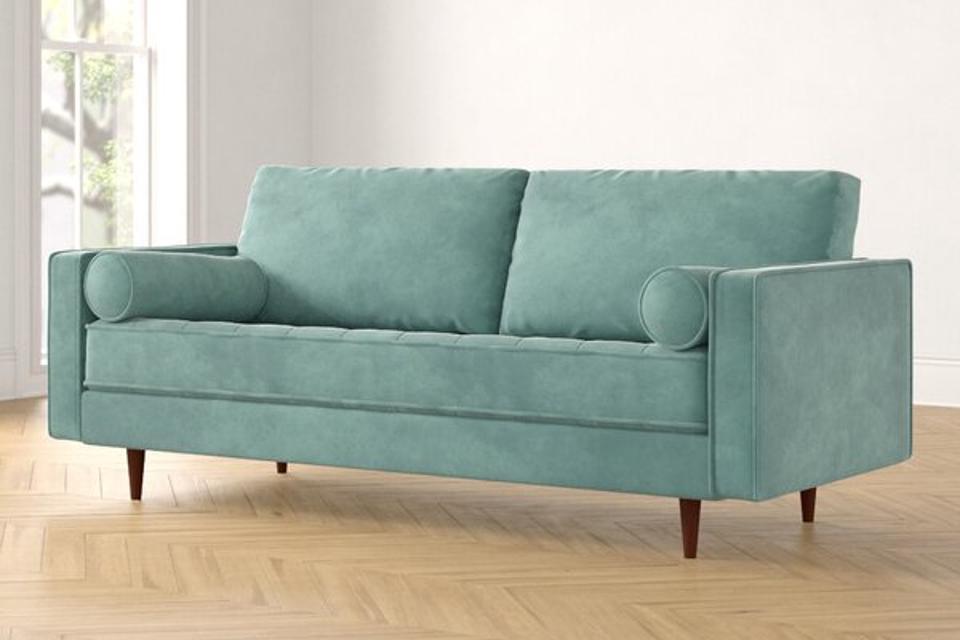 Foundstone Derry Velvet 84″ Square Arm Sofa