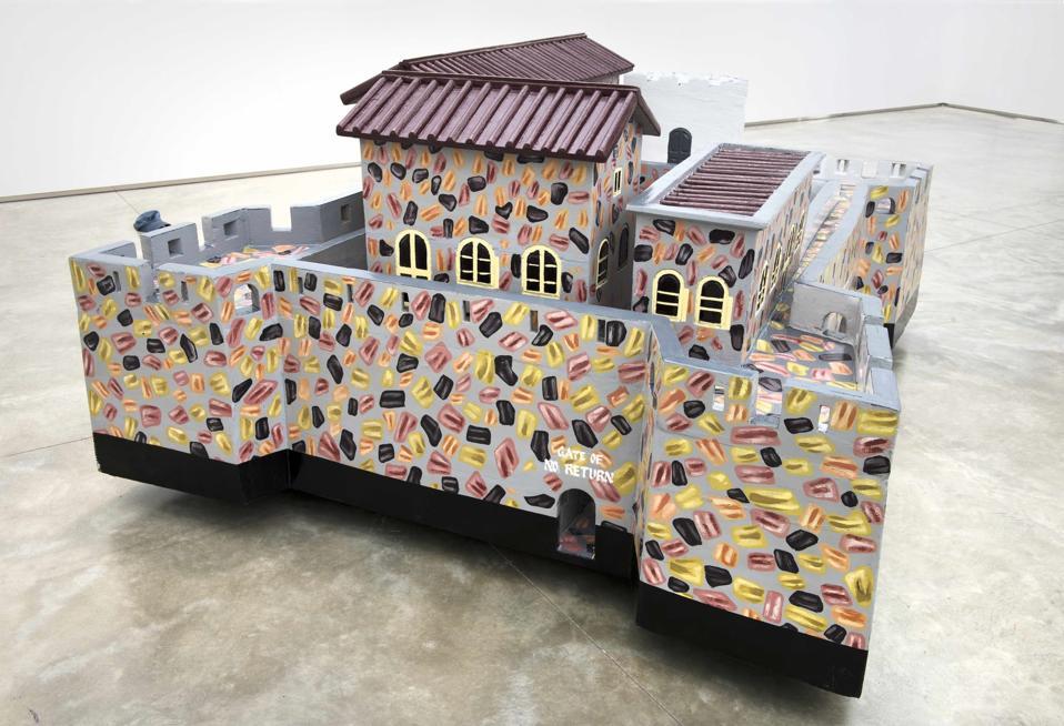 Paa Joe (Ghanaian, born 1947), '[Fort] Gross - Friedrichsburg – Princetown.' 1683 Brandenburg, 1717 - 24 Ahanta, 1724 Neths, 1872 Britain, 2004 – 2005 and 2017, emele wood and enamel.