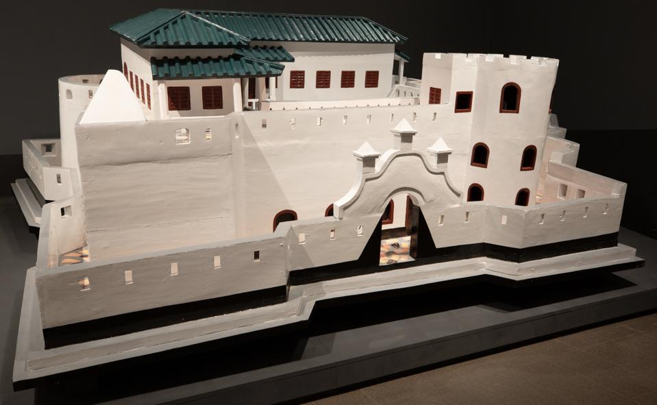 Paa Joe (Ghanaian, born 1947), 'Fort St. Sebastian – Shama.' 1520s Portuguese, 1638 Netherlands, 1872 Britain , 2004 – 2005 and 2017, emele wood and enamel.