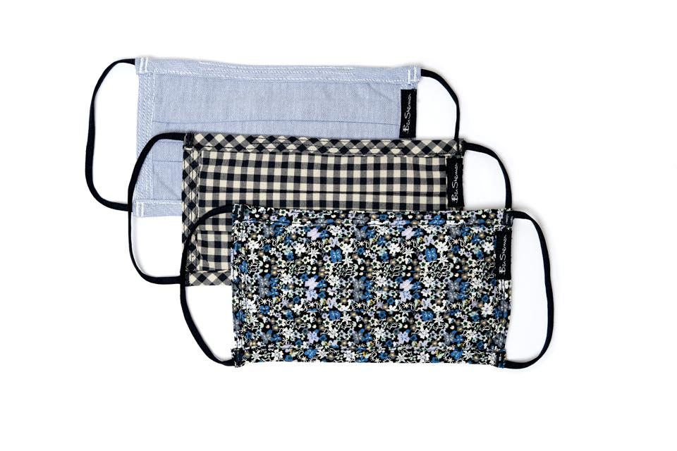 3-Pack Reusable Cotton Face Masks - Chambray/Navy Gingham/Navy & Green Floral