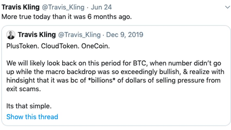 Scammer tweet explanation of bitcoin not appreciating.