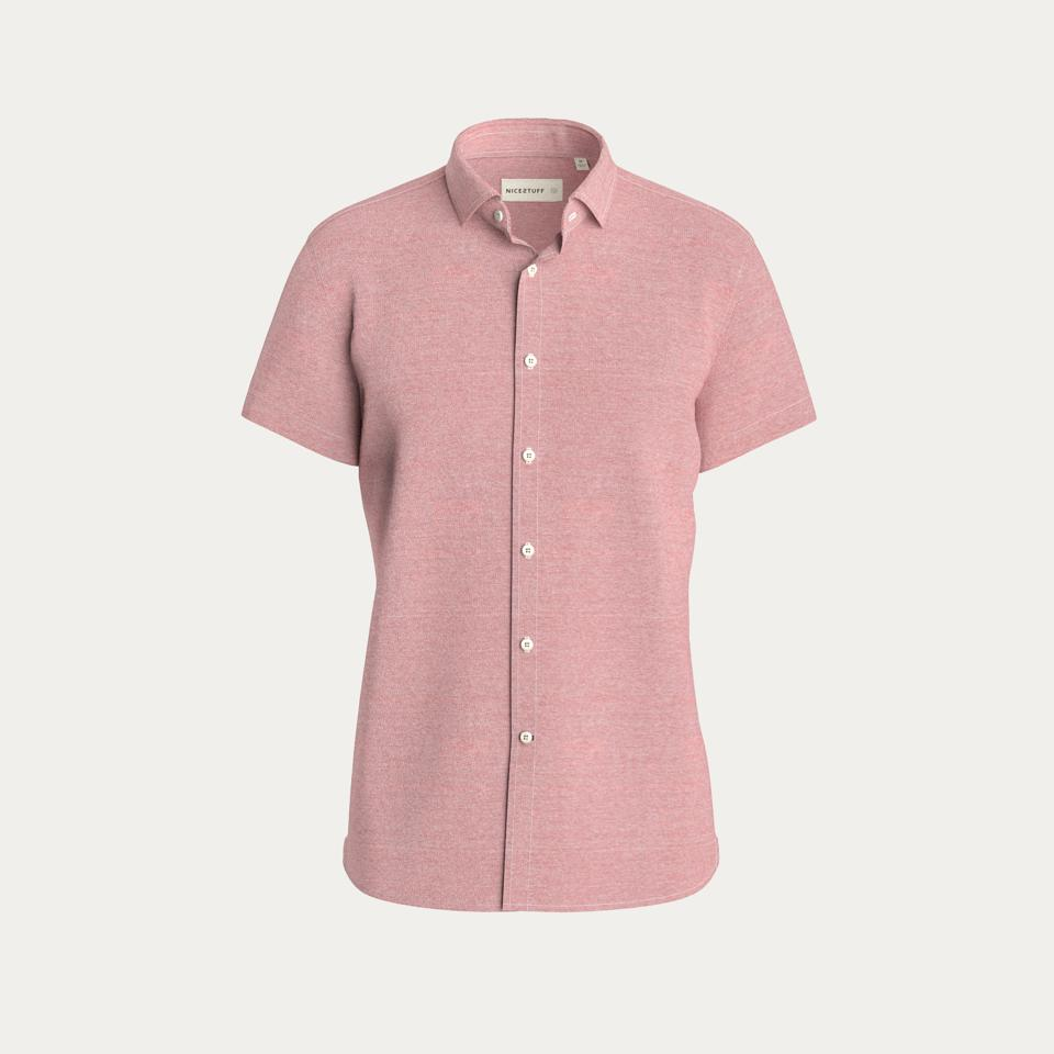 The short sleeve knit stretch shirt from NICESTUFF Clothing in red.