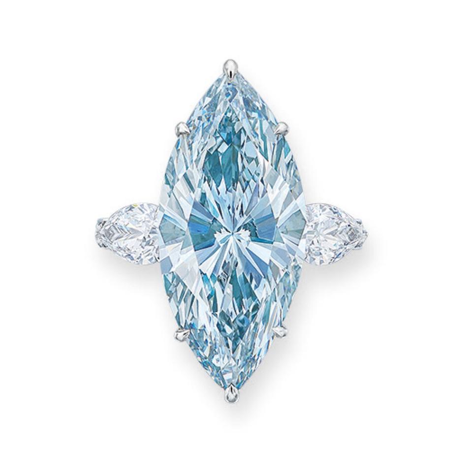 A 12.11-carat fancy intense blue diamond sold for $15.9 million
