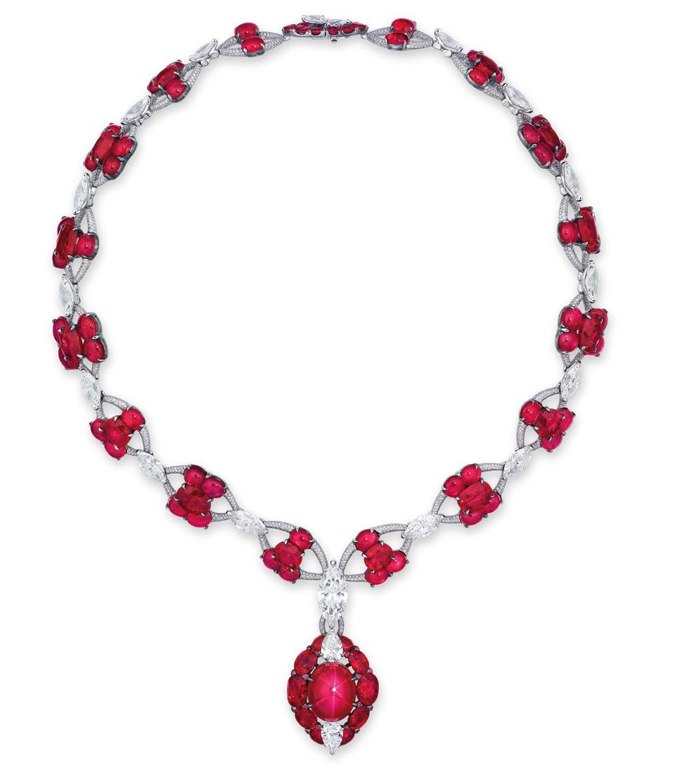 Burmese star ruby and diamond necklace sold for $2.6 million