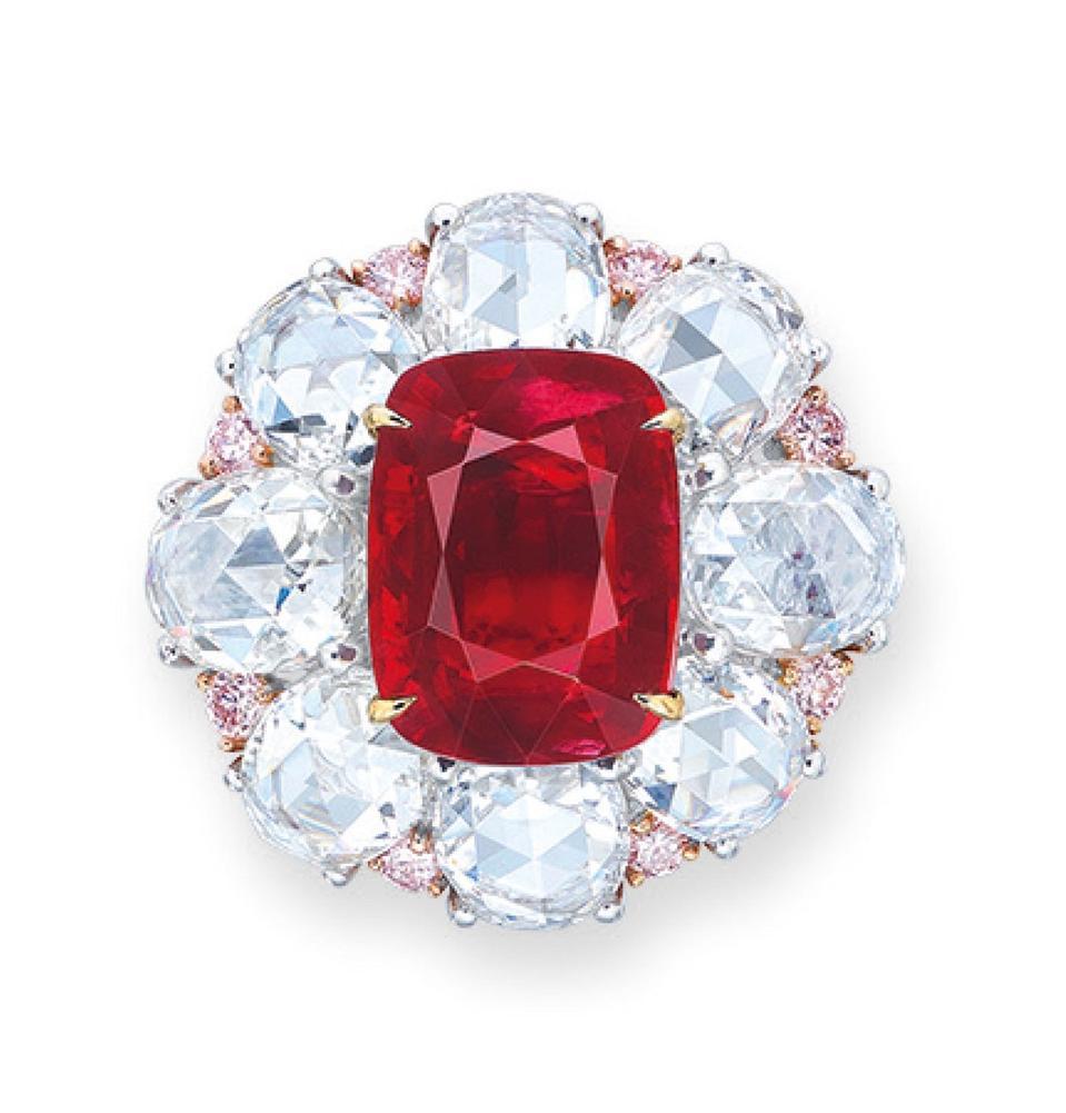 "6.06-carat Burmese ″pigeon blood red"" cushion-shaped ruby. Estimate $800,000 - $1.2 million"