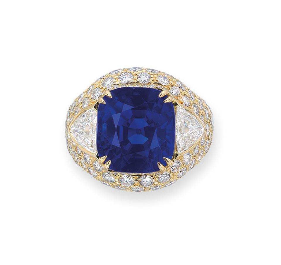 14.70-carat cushion-shaped Kashmir sapphire with an estimate of $518,433 - $777,650