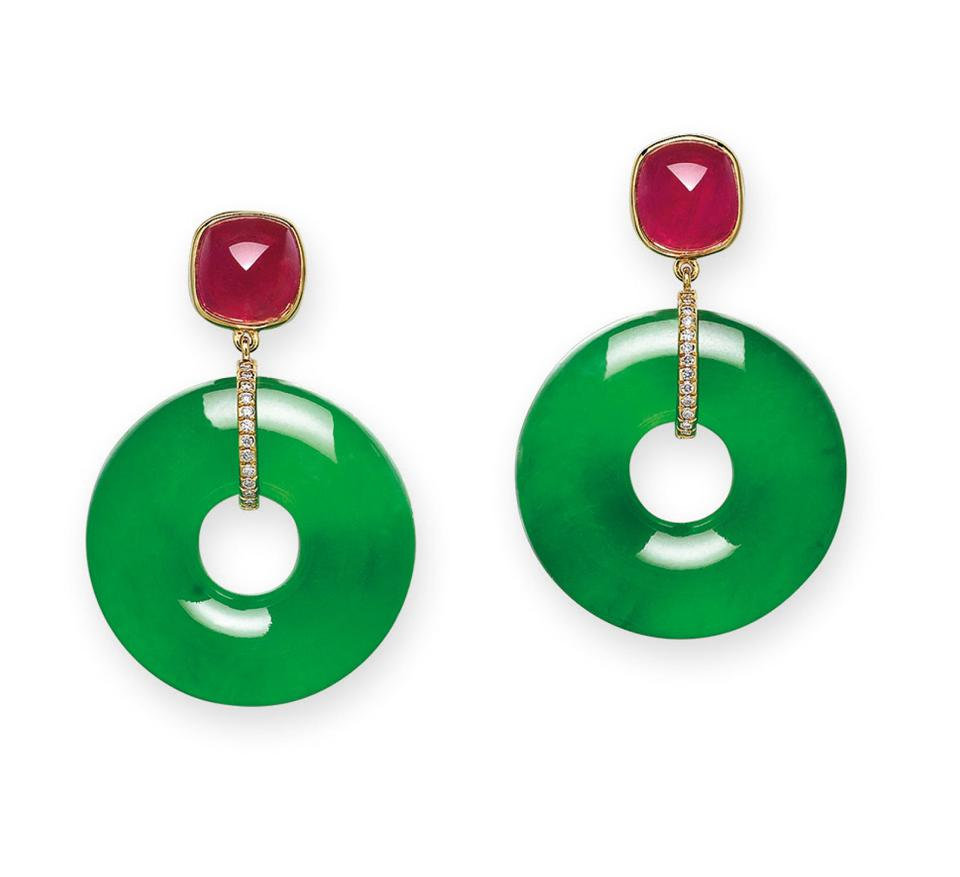 jadeite hoop earrings adorned with sugarloaf rubies and diamonds fetched nearly $1.3 million