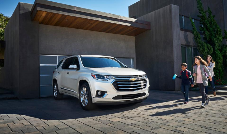 The Chevrolet Traverse SUV has surround vision: four strategically placed cameras creates a virtual bird's-eye view of the vehicle.