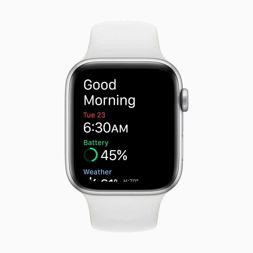 Apple Watch greets you with a cheery good morning.