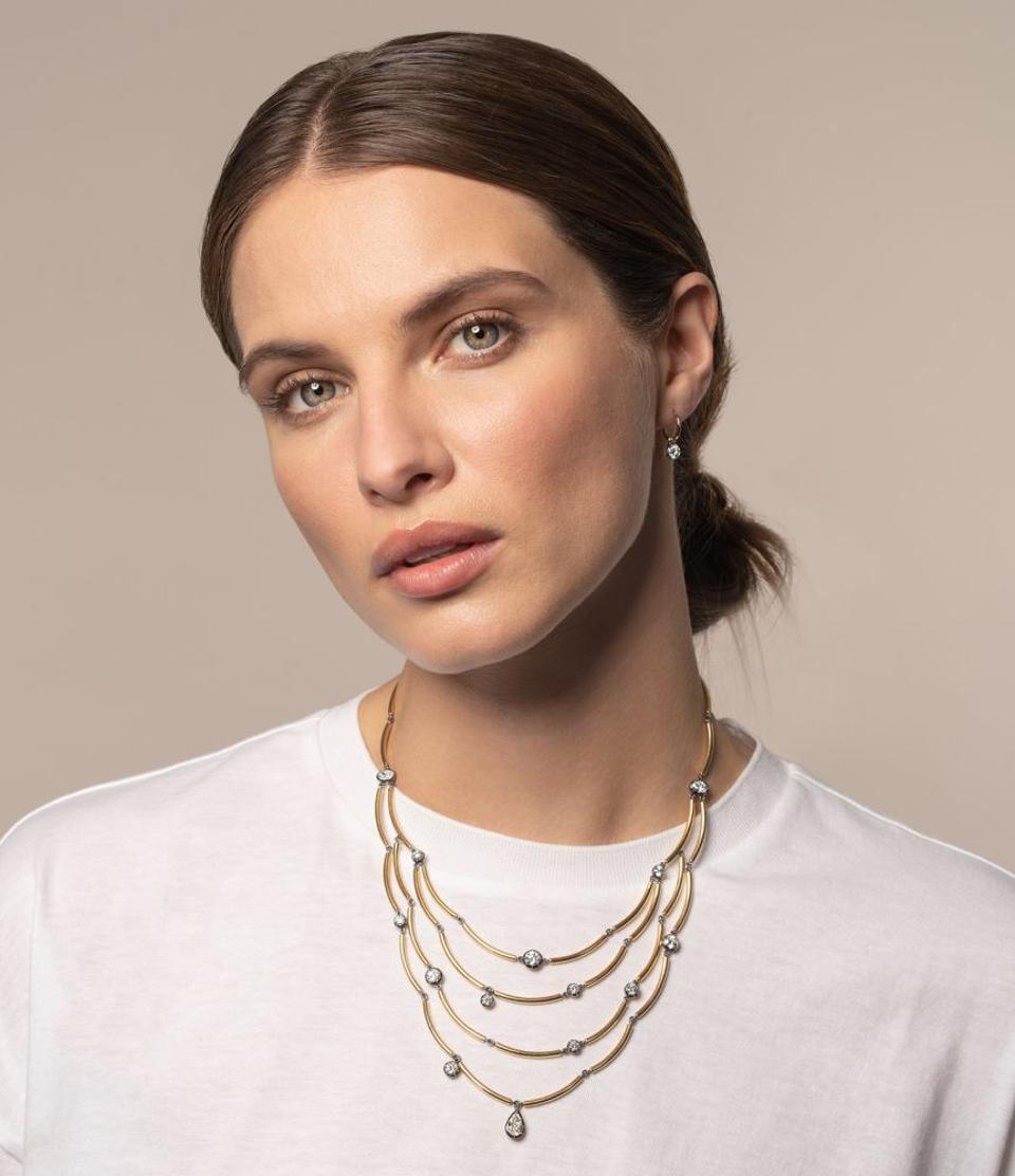 Chi Chi Four Row Gold and Diamond Necklace by Jessica McCormack