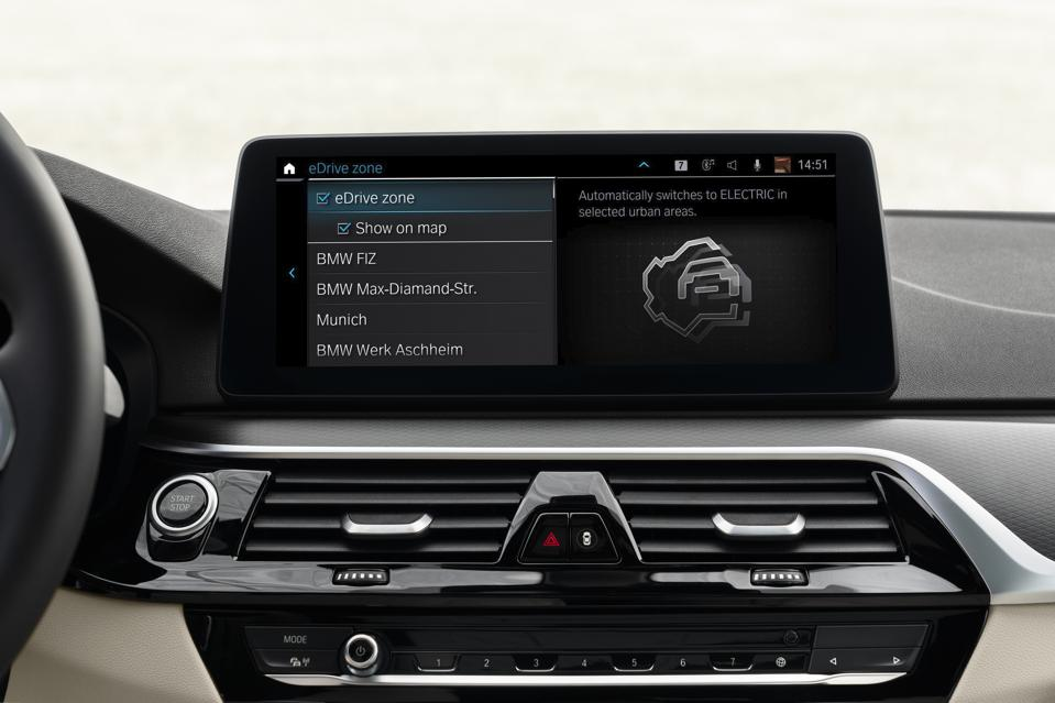 The BMW Operating System 7 update includes E-Drive zone to automatically switch plug-in models electric drive when entering defined urban centers