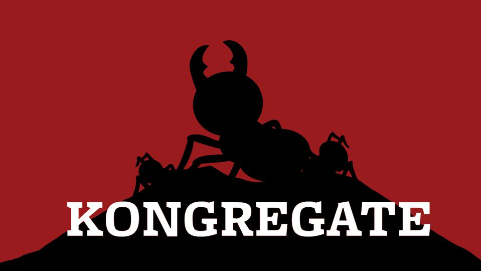 The Kongregate logo which features a black ant silhouette against a red backdrop