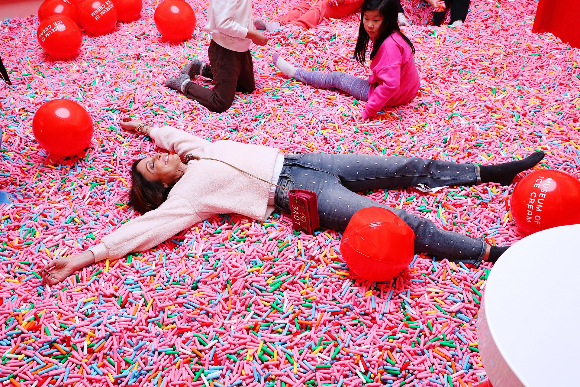 """The founder of Skinnygirl and a star of """"The Real Housewives of New York City,"""" Bethenny Frankel took a dip in the pool of nearly 100 million anti-microbial sprinkles at the Manhattan museum on opening night."""
