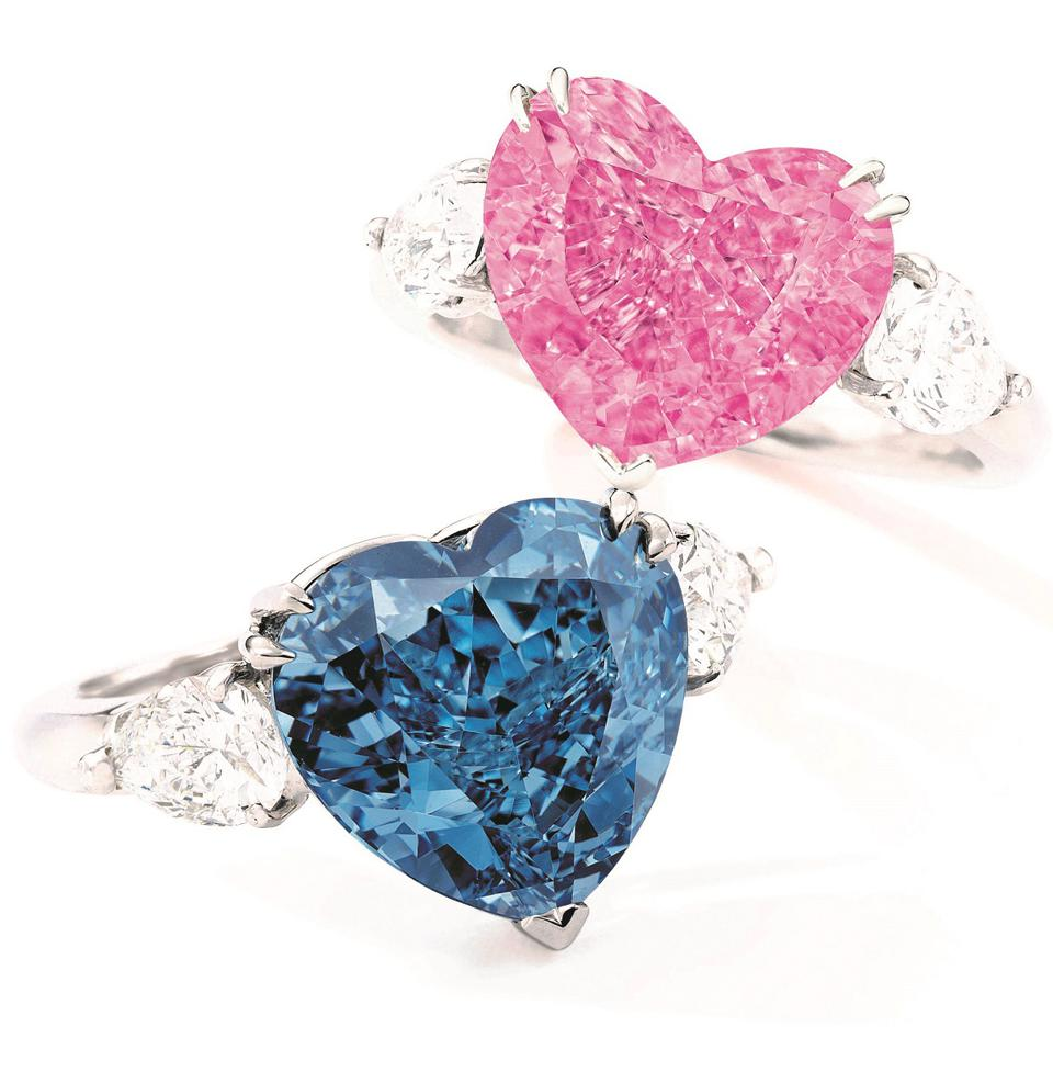 A fancy vivid pink Diamond and a fancy vivid blue diamond have a combined estimate of $18.5 million