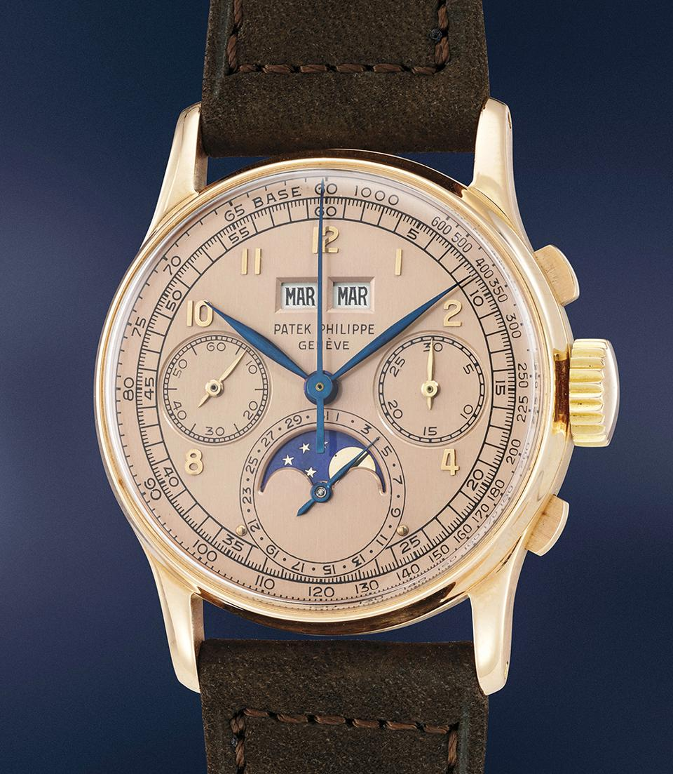 This rare Patek Philippe Ref. 1518 sold for $3,565,224, representing a world record for that model. It was owned by Jean-Claude Biver.