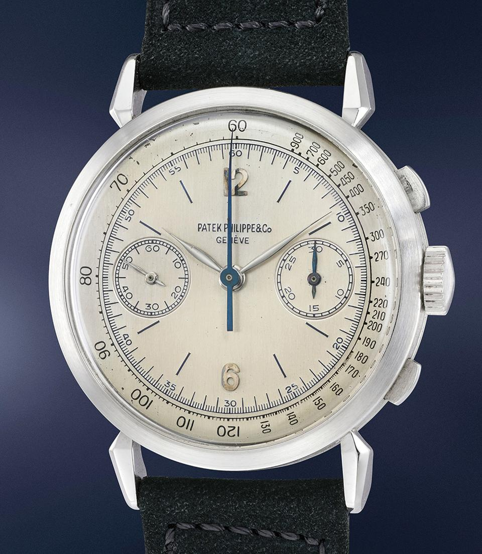 This rare Patek Philippe Ref. 1579 platinum chronograph with blue enamel markings sold at a Phillips auction for $2,046,312.