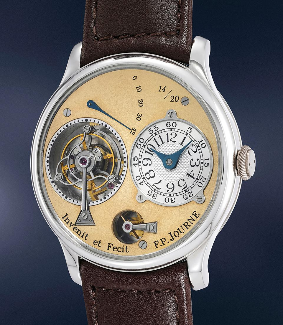 The F.P. Journe Souscription series Tourbillon Souverain, number 14 of only 20 pieces made, sold at a Phillips auction for $1,470,711.