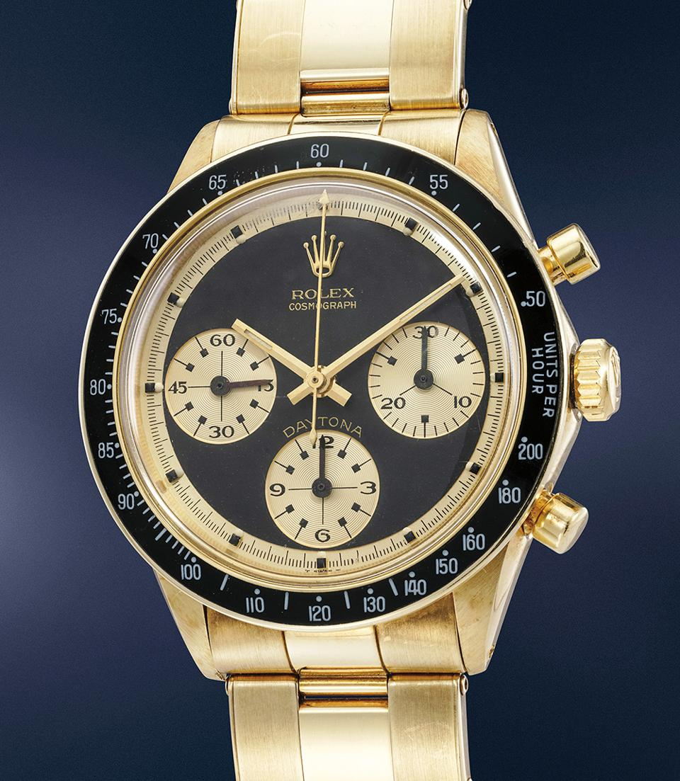 The yellow gold Rolex Ref. 6241 Paul Newman-style John Player Special sold for $1,096,992 at a Phillips auction.