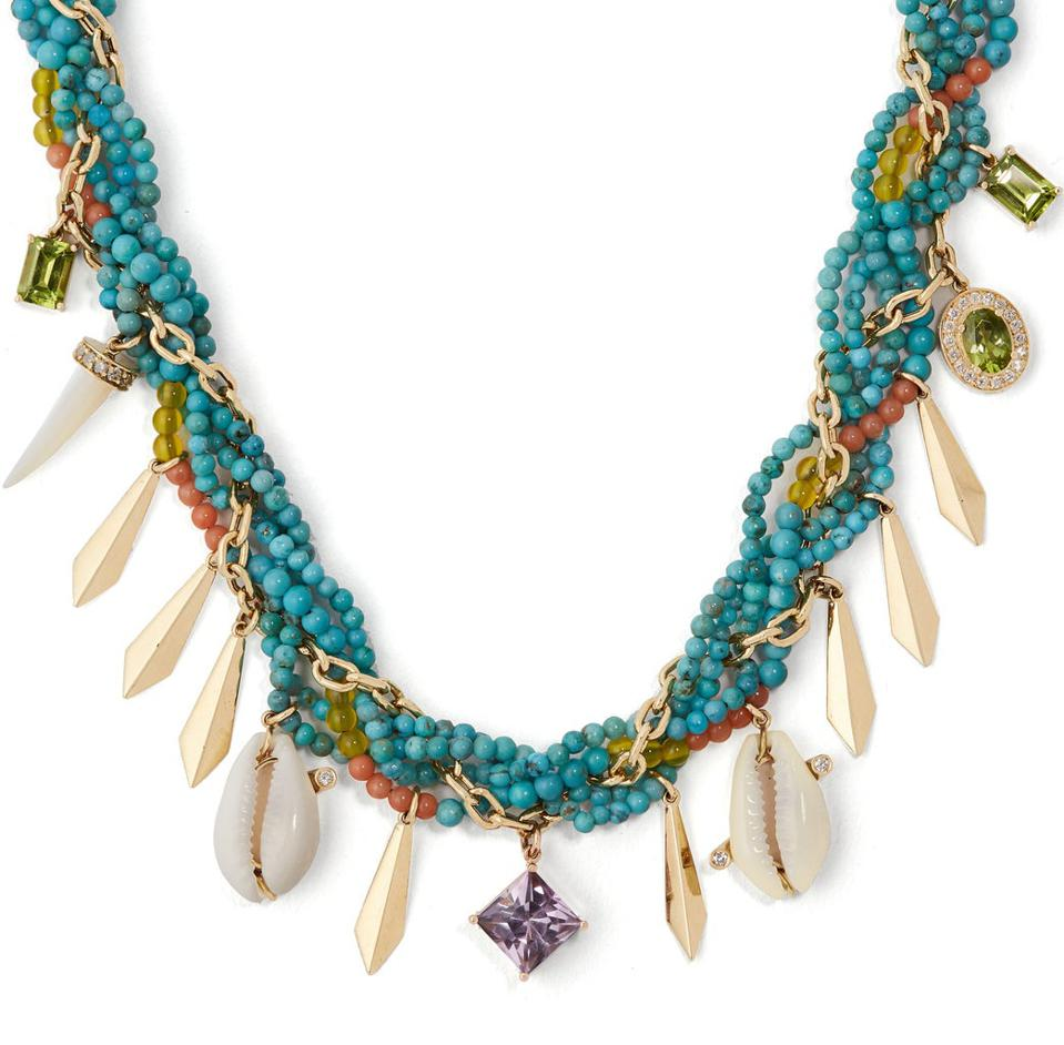 Braided turquoise, diamond & amethyst necklace by ARON & HIRSCH